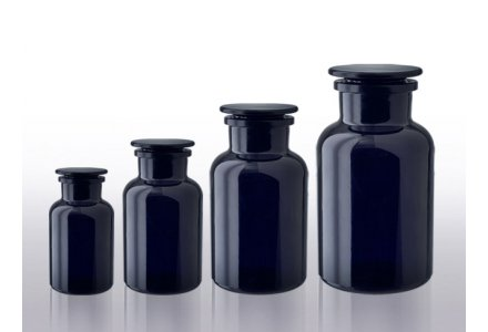 Miron violet glass apothecary bottles